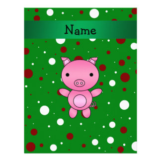Personalized name pig green white red polka dots personalized letterhead