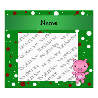 Personalized name pig green white red polka dots photograph