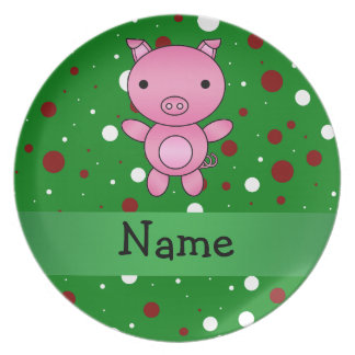 Personalized name pig green white red polka dots dinner plates