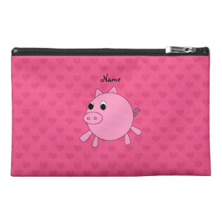 Personalized name pig pink hearts travel accessories bags