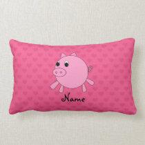 Personalized name pig pink hearts lumbar pillow