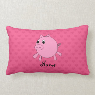 Personalized name pig pink hearts pillows