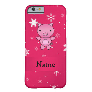 Personalized name pig pink snowflakes barely there iPhone 6 case