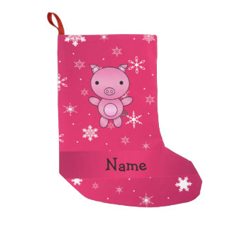 Personalized name pig pink snowflakes small christmas stocking
