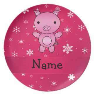 Personalized name pig pink snowflakes dinner plate