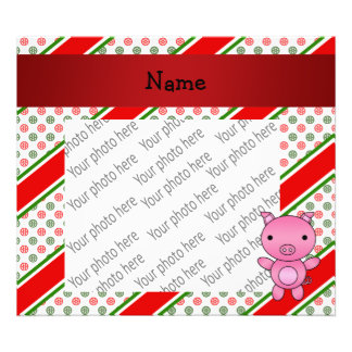 Personalized name pig polka dot snowflakes photo print