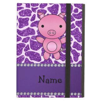 Personalized name pig purple glitter giraffe print case for iPad air