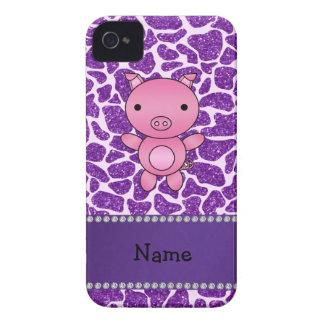 Personalized name pig purple glitter giraffe print Case-Mate iPhone 4 case