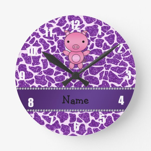 Personalized name pig purple glitter giraffe print round clock