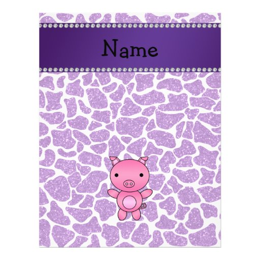 Personalized name pig purple glitter giraffe print full color flyer