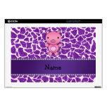 "Personalized name pig purple glitter giraffe print skins for 17"" laptops"