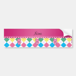Personalized name pig rainbow argyle bumper stickers