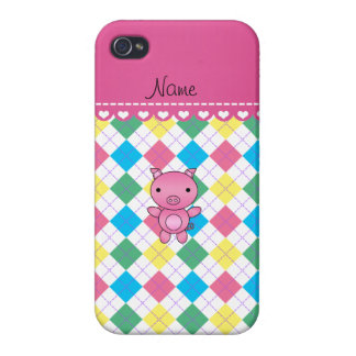 Personalized name pig rainbow argyle iPhone 4 cases