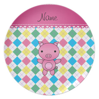 Personalized name pig rainbow argyle dinner plates