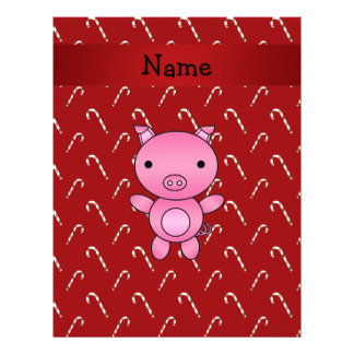 Personalized name pig red candy canes letterhead design