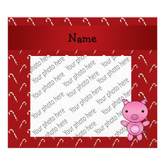 Personalized name pig red candy canes photographic print