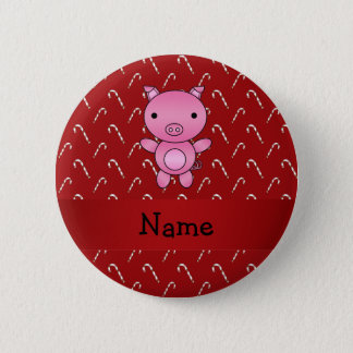 Personalized name pig red candy canes pinback button