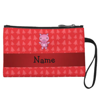 Personalized name pig red christmas trees wristlet purse