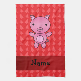 Personalized name pig red christmas trees hand towels