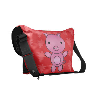 Personalized name pig red christmas trees courier bags