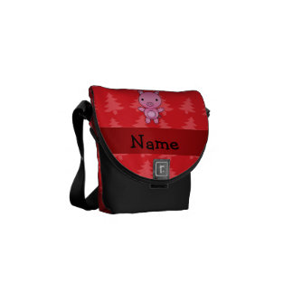 Personalized name pig red christmas trees courier bag