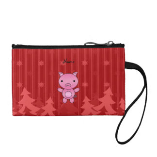 Personalized name pig red christmas trees stripes change purses