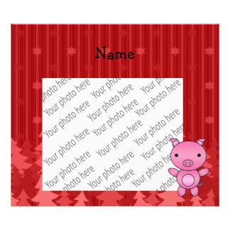 Personalized name pig red christmas trees stripes art photo