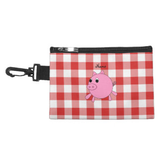 Personalized name pig red gingham pattern accessories bag