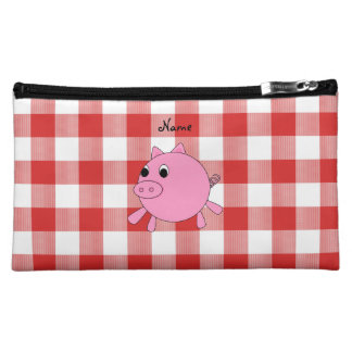 Personalized name pig red gingham pattern makeup bag