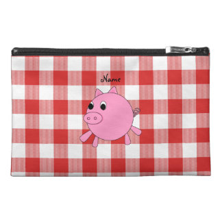 Personalized name pig red gingham pattern travel accessories bags