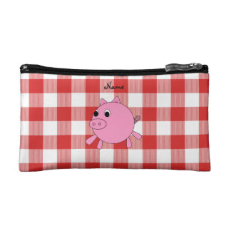 Personalized name pig red gingham pattern cosmetics bags