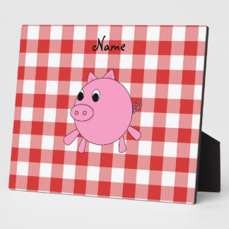 Personalized name pig red gingham pattern photo plaque