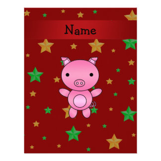 Personalized name pig red green gold stars customized letterhead