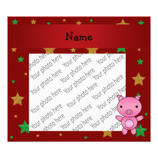 Personalized name pig red green gold stars photo art