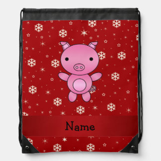 Personalized name pig red snowflakes drawstring backpacks