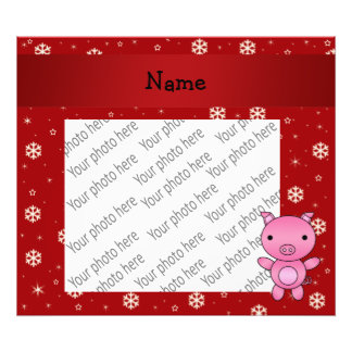 Personalized name pig red snowflakes photo