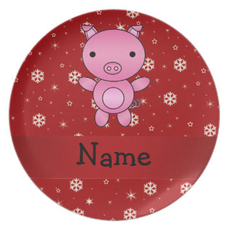 Personalized name pig red snowflakes party plates