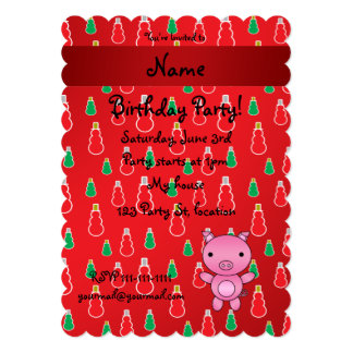 Personalized name pig red snowman pattern 5x7 paper invitation card