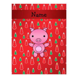 Personalized name pig red snowman pattern personalized letterhead