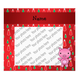 Personalized name pig red snowman pattern photo print
