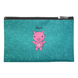 Personalized name pig turquoise glitter travel accessories bags
