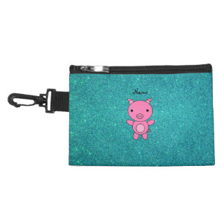 Personalized name pig turquoise glitter accessories bag