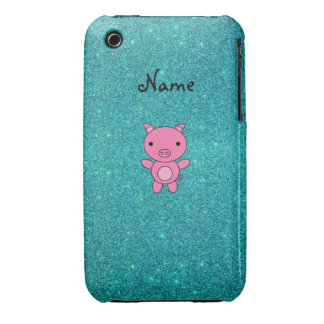 Personalized name pig turquoise glitter iPhone 3 case