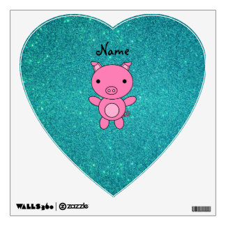 Personalized name pig turquoise glitter wall graphic