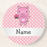 Personalized name pig with cupcake polka dots coasters