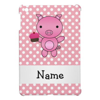 Personalized name pig with cupcake polka dots cover for the iPad mini