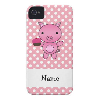 Personalized name pig with cupcake polka dots iPhone 4 cases