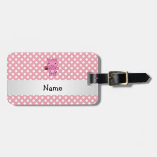 Personalized name pig with cupcake polka dots tag for bags