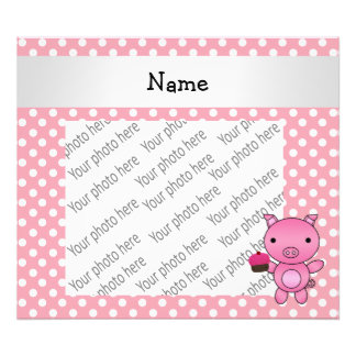 Personalized name pig with cupcake polka dots photographic print