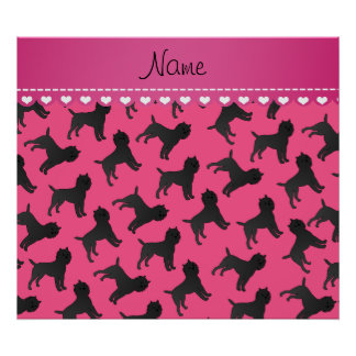 Personalized name pink affenpinscher dogs poster